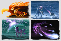 Size: 3543x2362 | Tagged: safe, artist:plainoasis, starlight glimmer, sunset shimmer, trixie, twilight sparkle, alicorn, phoenix, pony, unicorn, barrier, beam, blizzard, charge, counterparts, fiery shimmer, fire, force field, glare, gritted teeth, ice, magic, magic circle, magic missile, magical quartet, open mouth, raised hoof, smirk, snow, snowfall, twilight sparkle (alicorn), twilight's counterparts