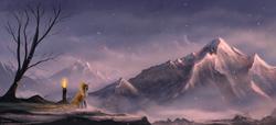 Size: 2200x1000 | Tagged: dead source, safe, artist:shamanguli, oc, oc only, pony, unicorn, cloak, clothes, fire, hood, mountain, mountain range, scenery, scenery porn, snow, snowfall, solo