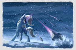 Size: 1735x1144 | Tagged: safe, artist:plainoasis, edit, trixie, pony, unicorn, cropped, female, magic, mare, raised hoof, snow, snowfall, solo
