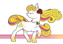 Size: 1280x890   Tagged: safe, artist:spectralunicorn, oc, oc only, oc:yellowstar, earth pony, pony, flower, jewelry, necklace, rainbow power, rainbow power-ified, rose, simple background, smiling, solo