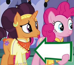 Size: 941x823 | Tagged: blank, edit, edited screencap, exploitable, fill in the blanks, implied shipping, meme, pinkie pie, pinkie pie's sign, safe, saffron masala, screencap, spice up your life