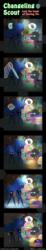 Size: 600x3263 | Tagged: safe, artist:vavacung, applejack, fluttershy, pinkie pie, princess luna, rainbow dash, rarity, twilight sparkle, changeling, comic:changeling-scout, book, bound wings, comic, cornered, eyes closed, knife, magic, magic circle, mane six, net, pinkamena diane pie, pointy ponies, rope, sleeping, sleepwalking, spell, sweat, trap (device), zzz