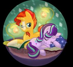 Size: 1022x931 | Tagged: safe, artist:donkeyinthemiddle, starlight glimmer, sunburst, pony, unicorn, book, circle, cute, female, glasses, glimmerbetes, lying down, male, mare, mat, pillow, reading, shipping, sleeping, stallion, starburst, straight