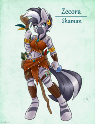 Size: 2550x3300   Tagged: safe, artist:ambris, zecora, zebra, anthro, unguligrade anthro, adventuring is magic, clothes, colored pupils, female, midriff, potion, shaman, simple background, solo, staff, tube top