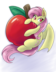 Size: 2550x3300 | Tagged: safe, artist:ambris, fluttershy, bat pony, pony, apple, chibi, colored pupils, cute, female, flutterbat, food, micro, nom, race swap, shyabates, shyabetes, solo, tiny ponies