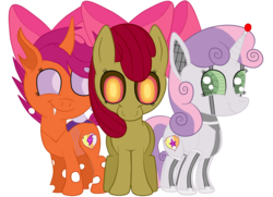 Size: 1936x1400 | Tagged: safe, artist:squipycheetah, apple bloom, scootaloo, sweetie belle, changeling, earth pony, pony, robot, robot pony, undead, unicorn, zombie, zombie pony, fanfic:undead robot bug crusaders, friendship is witchcraft, story of the blanks, crusaders of the lost mark, adorabloom, alternate color palette, alternate cutie mark, alternate eye color, alternate hairstyle, alternate universe, apple bloom's bow, blanked apple bloom, changelingified, cute, cutealoo, cutie mark, cutie mark crusaders, diasweetes, fangs, female, filly, foal, happy, hooves, horn, looking at you, orange changeling, possessed, race swap, scootaling, simple background, smiling, species swap, standing, sweetie bot, the cmc's cutie marks, transparent background, transparent wings, trio, vector