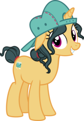 Size: 9000x12920 | Tagged: safe, artist:cheezedoodle96, artist:luckreza8, edit, vector edit, fresh coat, pony, spice up your life, .svg available, absurd resolution, backwards ballcap, cute, female, floppy ears, happy, hat, inkscape, mare, nude edit, simple background, smiling, solo, transparent background, vector