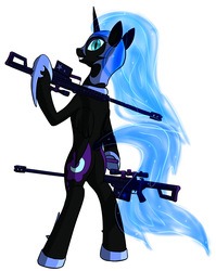 Size: 1496x1881 | Tagged: artist:panzerhi, barrett, bipedal, dead source, gun, m82a3, nightmare moon, pony, pun, rifle, safe, solo, visual pun, weapon