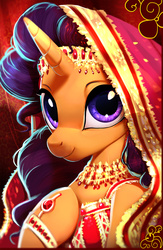 Size: 3242x4977   Tagged: safe, artist:imalou, saffron masala, pony, unicorn, spice up your life, beautiful, bust, chef, clothes, cute, female, hood, hoof on chest, indian, jewelry, looking at you, mare, portrait, saffronbetes, smiling, solo, stunning beauty, three quarter view