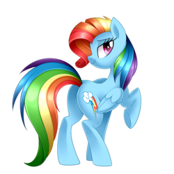 Size: 3000x3000 | Tagged: safe, artist:scarlet-spectrum, rainbow dash, pegasus, pony, newbie dash, alternate hairstyle, bedroom eyes, female, impersonating, looking at you, mare, plot, rainbow fash, rainbutt dash, raised hoof, simple background, smiling, solo, transparent background