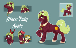Size: 3537x2235 | Tagged: apple, artist:vindhov, bolo tie, collar, duo, earth pony, female, food, fruit bat, hat, male, mare, oc, oc:black twig apple, oc:honeycrisp, oc only, offspring, parent:big macintosh, parent:cheerilee, parents:cheerimac, pony, safe, simple background, sleeping, stallion, teal background, unshorn fetlocks