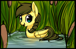 Size: 956x618 | Tagged: adorable face, artist:starshinebeast, cute, diabetes, duck pony, female, mare, oc, oc:nemsee, oc only, pegaduck, pegasus, pony, reeds, safe, sketch, solo, swimming