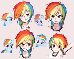 Size: 2070x1645 | Tagged: safe, artist:odaefnyo, rainbow dash, human, bust, cute, expressions, eye clipping through hair, faic, female, filly rainbow dash, humanized, looking at you, multeity, portrait, simple background, smiling, smug, smugdash