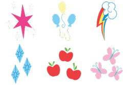 Size: 300x200 | Tagged: safe, artist:parclytaxel, applejack, fluttershy, pinkie pie, rainbow dash, rarity, twilight sparkle, .svg available, absurd resolution, applejack's cutie mark, cutie mark, cutie mark only, fluttershy's cutie mark, mane six, no pony, pinkie pie's cutie mark, rainbow dash's cutie mark, rarity's cutie mark, simple background, svg, transparent background, twilight's cutie mark, vector