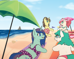 Size: 3000x2400 | Tagged: source needed, safe, artist:floots, oc, oc only, oc:beryl, oc:beryl (smhac), oc:bleeding heart, oc:helix, oc:toffee, earth pony, pony, unicorn, beach, bikini, boat, clothes, cute, female, food, ice cream, mare, ocean, prone, sand castle, seashell, sitting, summer, sunbathing, swimsuit, towel, umbrella