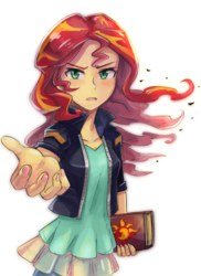 Size: 600x822 | Tagged: safe, artist:tzc, sunset shimmer, human, equestria girls, book, female, journey book, looking at you, nail polish, open mouth, reaching out, simple background, solo, white background