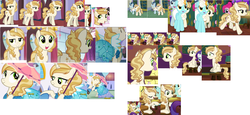 Size: 3426x1578 | Tagged: safe, screencap, bon appétit, cayenne, fleur-de-lis, lily love, perry pierce, pinkie pie, polo play, rarity, say cheese, serena, sweet biscuit, upper crust, pony, unicorn, canterlot boutique, spice up your life, background pony, c:, clothes, collage, cute, dress, eyes closed, female, frown, gritted teeth, happy, julia child, las pegasus resident, lidded eyes, male, mare, open mouth, pointing, princess dress, raised hoof, reference sheet, sad, scared, smiling, stallion, trotting, umbrella, wide eyes