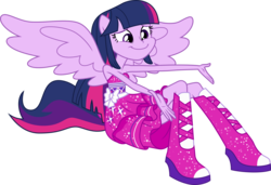 Size: 5854x4000 | Tagged: absurd res, artist:missgoldendragon, bare shoulders, boots, clothes, dress, equestria girls, fall formal outfits, high heel boots, ponied up, ponyscape, reaching out, safe, simple background, sitting, sleeveless, smiling, solo, spread wings, strapless, .svg available, transparent background, twilight sparkle, twilight sparkle (alicorn), vector, wings