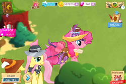 Size: 480x320   Tagged: safe, applejack, chancellor puddinghead, fluttershy, pinkie pie, private pansy, smart cookie, earth pony, pegasus, pony, error, gameloft, glitch, russian, vip