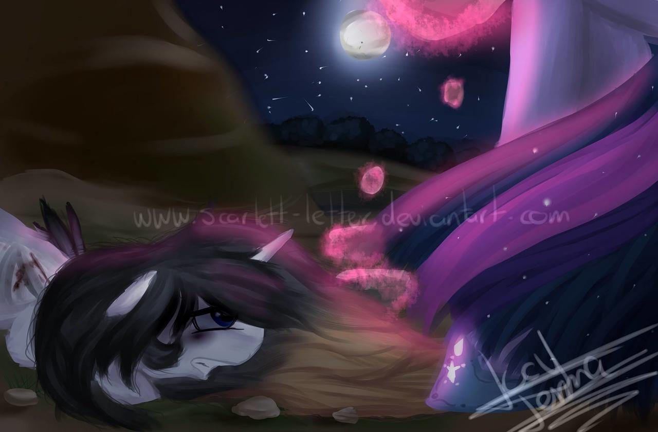 1180344 alicorn alicorn oc artist scarlett letter injured moon