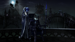 Size: 2848x1620 | Tagged: safe, artist:willhemtier, princess luna, oc, oc:silver specter, oc:the moonlight songtress, bat pony, anthro, unguligrade anthro, armor, balcony, blindfold, castle, chair, city, cloak, clothes, dress, duo, ear piercing, earring, female, fence, floating, gate, glowing eyes, hand on shoulder, jewelry, looking at you, male, mare, moon, moonlight, necklace, night guard, piercing, priestess, scenery, scenery porn, sitting, spear, stallion, statue, weapon, youtube link