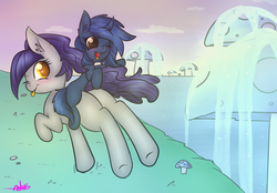 Size: 3300x2300   Tagged: safe, artist:ashee, oc, oc only, oc:fruity blossom, oc:starlight blossom, earth pony, pony, unicorn, curved horn, giant mushroom, lake, mother and daughter, mushroom, plot, riding, tongue out, waterfall