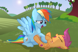 Size: 2869x1920 | Tagged: safe, artist:shutterflyeqd, rainbow dash, scootaloo, pegasus, pony, bellyrubs, cute, cutealoo, cutie mark, eyes closed, female, field, filly, grass, hnnng, laughing, legs in air, mare, on back, open mouth, scootalove, smiling, spread wings, the cmc's cutie marks, tickling, ticklish tummy, weapons-grade cute, wings