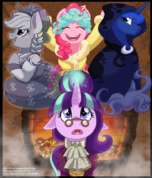 Size: 800x941 | Tagged: safe, artist:itstaylor-made, applejack, pinkie pie, princess luna, snowfall frost, spirit of hearth's warming past, spirit of hearth's warming presents, spirit of hearth's warming yet to come, starlight glimmer, a hearth's warming tail, fireplace, floppy ears, looking up, magic, open mouth