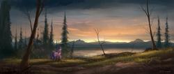Size: 2360x1000   Tagged: safe, artist:shamanguli, twilight sparkle, alicorn, pony, female, forest, lake, mountain, scenery, scenery porn, solo, twilight (astronomy), twilight sparkle (alicorn), water