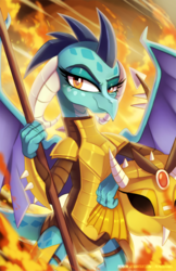 Size: 708x1095 | Tagged: safe, artist:pepooni, princess ember, dragon, armor, badass, dragon armor, female, fire, looking at you, smirk, solo, spear, weapon
