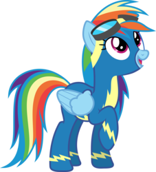 Size: 4532x5000 | Tagged: safe, artist:baumkuchenpony, rainbow dash, newbie dash, .svg available, absurd resolution, clothes, female, goggles, inkscape, looking up, open mouth, raised hoof, simple background, solo, transparent background, vector, wonderbolts, wonderbolts uniform