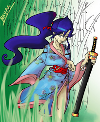 Size: 1512x1840 | Tagged: safe, artist:nayaasebeleguii, princess luna, human, bamboo, clothes, female, grass, humanized, katana, kimono (clothing), mouth hold, ponytail, samurai, scar, solo, sword, warrior luna, weapon
