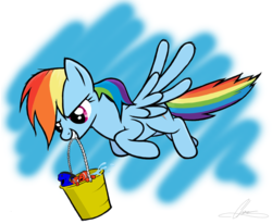 Size: 2202x1818 | Tagged: safe, artist:oinktweetstudios, rainbow dash, fish, pegasus, pony, blue tang, bucket, clownfish, crossover, dory, female, finding dory, finding nemo, flying, mare, marlin, mouth hold, nemo, pixar