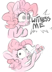 Size: 1351x1855 | Tagged: dead source, safe, artist:nobody, pinkie pie, earth pony, pony, :t, chugging, comic, context is for the weak, derp, featured image, female, food, funny, funny as hell, glare, gritted teeth, mad max, mad max fury road, mare, parody, ponk, reference, simple background, sketch, solo, wat, whipped cream, white background, wide eyes, witness me, witnessed