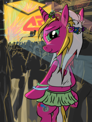 Size: 3072x4096 | Tagged: artist:littlenaughtypony, bedroom eyes, bracelet, clothes, crowd, cute, dancing, dj pon-3, female, festival, floral head wreath, flower, flower in hair, glow rings, jewelry, lights, looking at you, looking back, mare, midriff, miniskirt, music, oc, oc:starsweep sweetsky, pony, rave, safe, skirt, smiling, solo focus, tanktop, vinyl scratch