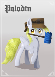 Size: 848x1200   Tagged: safe, artist:ailynd, derpy hooves, pegasus, pony, blackletter, cardboard box, fantasy class, female, hammer, knight, mare, mouth hold, paladin, shadow, smiling, solo, toy, warrior