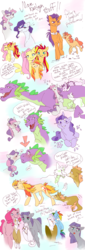 Size: 1024x3000 | Tagged: safe, artist:blitzengles, fluttershy, gilda, maud pie, pinkie pie, rainbow dash, rarity, spike, sunset shimmer, sweetie belle, tender taps, oc, oc:parsnips, oc:peach blossom, oc:periwinkle, oc:rising reflection, oc:sugardrops, oc:sun spark, oc:zinnias, dracony, griffon, hybrid, pony, unicorn, adopted offspring, don't talk to me or my son ever again, female, interspecies offspring, magical lesbian spawn, male, offspring, offspring's offspring, parent:apple bloom, parent:discord, parent:fluttershy, parent:gilda, parent:oc:rising reflection, parent:pinkie pie, parent:rainbow dash, parent:rarity, parent:spike, parent:sunset shimmer, parent:sweetie belle, parent:tender taps, parent:twilight sparkle, parents:canon x oc, parents:gildashpie, parents:rarilight, parents:spikebelle, parents:sunshyne, parents:tenderbloom, shipping, spikebelle, straight, sunshyne