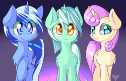Size: 1280x828 | Tagged: safe, artist:kawaiipony2, lyra heartstrings, minuette, twinkleshine, pony, unicorn, adorableshine, chest fluff, colored pupils, cute, female, fluffy, leg fluff, looking at you, lyrabetes, mare, minubetes, raised hoof, shoulder fluff, smiling