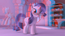 Size: 1280x720 | Tagged: safe, artist:ig-64, rarity, pony, unicorn, 3d, anaglyph 3d, carousel boutique, cg, female, glasses, mannequin, pincushion, ponyquin, render, solo, spool, thread