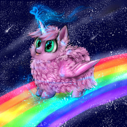 Size: 1024x1024 | Tagged: safe, artist:katemaximova, oc, oc only, oc:fluffle puff, alicorn, original species, :p, alicornified, flufflecorn, heart, magic, pink fluffy unicorns dancing on rainbows, race swap, rainbow, smiling, solo, space, this will end in pbbt, tongue out, xk-class end-of-the-world scenario