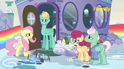 Size: 1275x715   Tagged: safe, screencap, fluttershy, gentle breeze, posey shy, zephyr breeze, pegasus, pony, flutter brutter, angry, annoyed, broken glass, discovery family logo, door, family, female, flower, looking at you, male, mare, shy family house, shys, stallion, the shy family