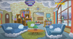 Size: 1660x899   Tagged: safe, screencap, fluttershy, gentle breeze, posey shy, zephyr breeze, pony, flutter brutter, cloud, discovery family logo, interior, living room, rainbow, shy family house