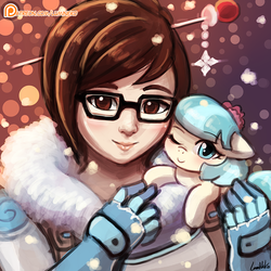 Size: 750x750 | Tagged: artist:lumineko, clothes, cocobetes, coco pommel, crossover, cute, duo, earth pony, female, flower, flower in hair, glasses, human, looking at you, lumineko is trying to murder us, mei, one eye closed, overwatch, patreon, patreon logo, pony, safe, smiling, wink