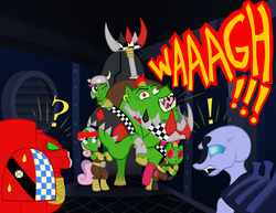 Size: 3872x2984 | Tagged: safe, artist:athos01, apple bloom, bulk biceps, scootaloo, sweetie belle, boar, ork, crossover, cutie mark crusaders, genestealer, genestealers, hogz, iron gob, ponified, space hulk, space marine, tyranids, waaagh!, warhammer (game), warhammer 40k