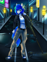 Size: 1600x2100 | Tagged: .50 cal, abs, anthro, artist:spazzykoneko, belly button, belt, cargo pants, female, future, gauges, gun, hooves, joule, m82a3, night, oc, oc only, oc:sapphire sights, optical sight, pegasus, piercing, retrowave, rifle, safe, sniper, sniper rifle, solo, source needed, street, unguligrade anthro, water, weapon