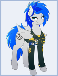 Size: 1600x2100 | Tagged: armband, artist:spazzykoneko, eyeshadow, gauges, joule, makeup, military, military uniform, oc, oc only, oc:sapphire sights, piercing, safe, smug, solo, source needed