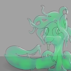 Size: 1600x1600 | Tagged: source needed, safe, artist:ampderg, oc, oc only, goo pony, hybrid, lamia, original species, slimia, badumsquish approved, female, slime, solo