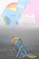 Size: 730x1095 | Tagged: artist:prismaticdragontamer, comic, feels, firefly, g1, g1 to g4, generation leap, grave, gravestone, mother and daughter, rainbow dash, sad, safe, you are my sunshine