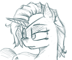 Size: 1873x1564 | Tagged: alternate hairstyle, alternate universe, artist:post-it, eyepatch, monochrome, rarity, safe, short mane, sketch, solo, sword rara