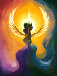 Size: 886x1181 | Tagged: safe, artist:plainoasis, princess celestia, alicorn, pony, backlighting, female, solo, spread wings, summer sun celebration, sun